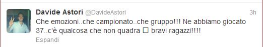 Dal profilo Twitter di Davide Astori
