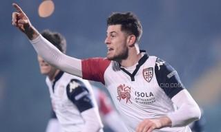 L'esultanza di Alberto Cerri dopo il gol-vittoria segnato contro l'Avellino